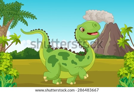 Cartoon happy dinosaur with mountain