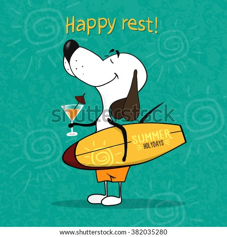 Cartoon happy dog holding a surfboard and a cocktail.  - stock vector