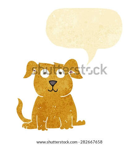 cartoon happy dog with speech bubble - stock vector