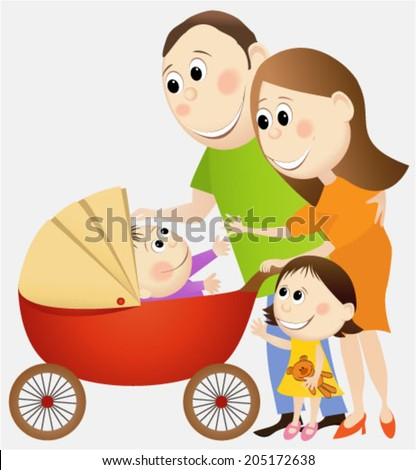 Cartoon happy family - stock vector