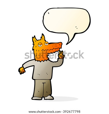cartoon happy fox man with speech bubble