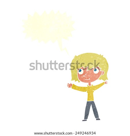 cartoon happy girl with speech bubble - stock vector