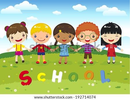 Cartoon happy  kids, school on grass  - stock vector