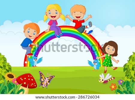 Cartoon Happy kids sitting on rainbow on the forest - stock vector