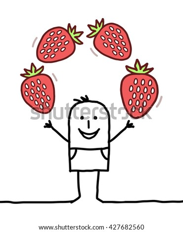 cartoon happy man with strawberries - stock vector