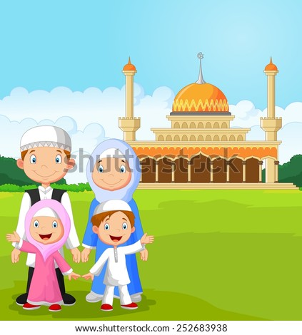 Cartoon happy Muslim family - stock vector