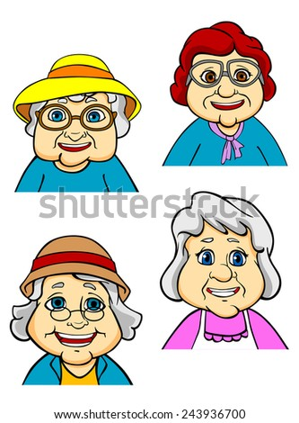 Cartoon happy old women and seniors characters on white background - stock vector