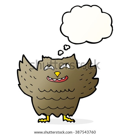cartoon happy owl with thought bubble