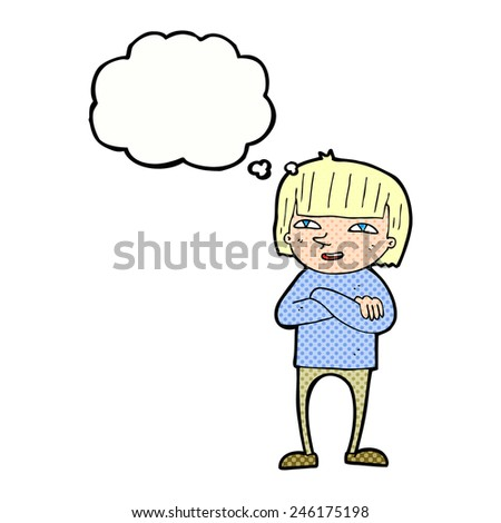 cartoon happy person with thought bubble - stock vector