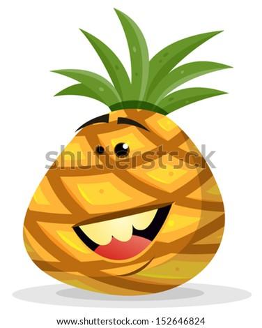 Cartoon Happy Pineapple Character/ Illustration of a happy funny cartoon ananas fruit character smiling - stock vector