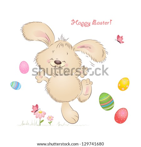 Cartoon happy rabbit for Easter Cards - stock vector