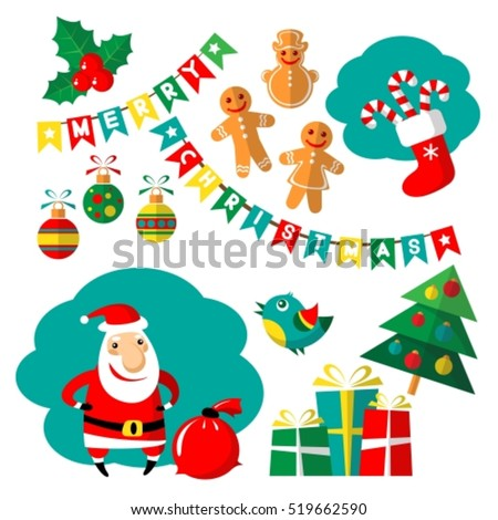 Cartoon happy Santa Claus vector and Christmas symbols isolated on white background. Design elements for greeting cards and flyers. Dlat design.