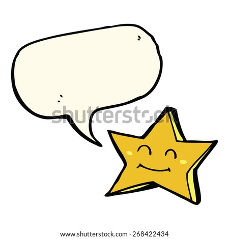 cartoon happy star character with speech bubble - stock vector