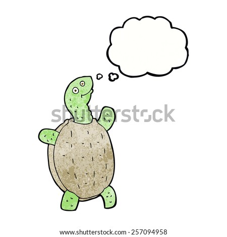 cartoon happy turtle with thought bubble - stock vector