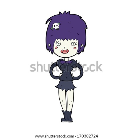 cartoon happy vampire girl
