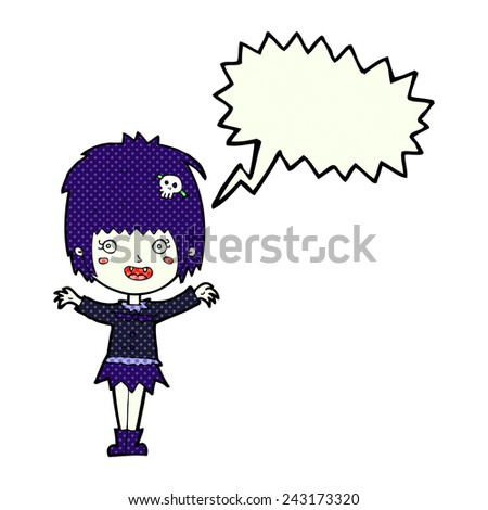 cartoon happy vampire girl with speech bubble