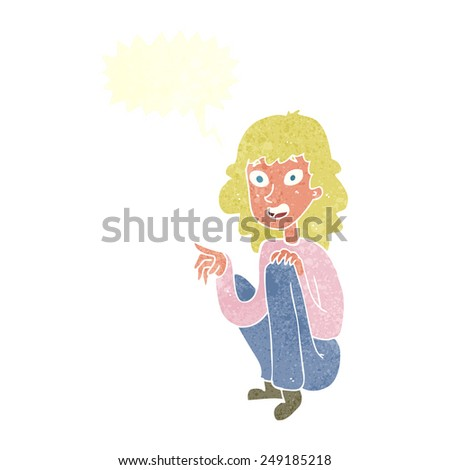 cartoon happy woman sitting and pointing with speech bubble