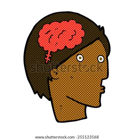 cartoon head with brain symbol - stock vector