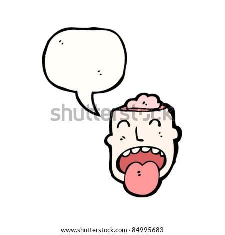 cartoon head with exposed brain - stock vector