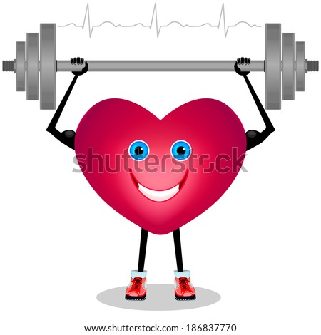Cartoon heart with a barbell. Isolated on white background