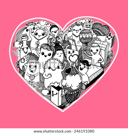 cartoon Hearts  Pattern hand-drawn kawaii monsters with cute doodles - Illustration - stock vector