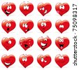cartoon hearts with many expressions - stock photo