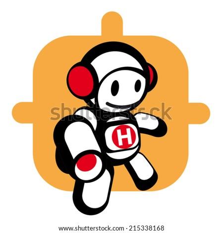 Cartoon hero character icon, vector - stock vector
