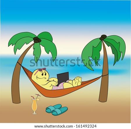 cartoon hero lies in a hammock working on a laptop on the beach - stock vector
