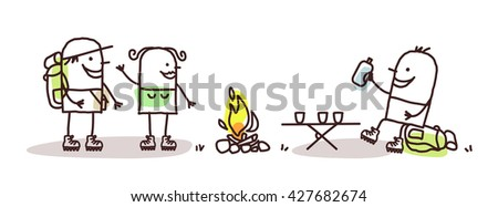 cartoon hikers with campfire - stock vector