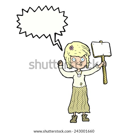 cartoon hippie girl with protest sign with speech bubble - stock vector