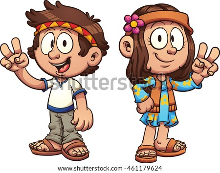 Cartoon hippie kids. Vector clip art illustration with simple gradients. Each on a separate layer.