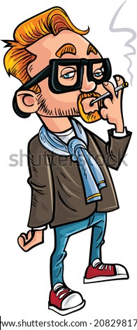 Cartoon hipster smoking a cigarette. Isolated on white - stock vector
