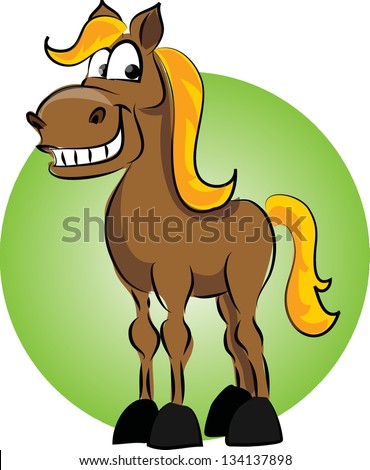 Cartoon horse on green background