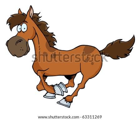 Cartoon Horse Running - stock vector