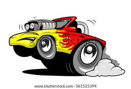 Cartoon hot rod - stock vector
