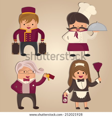Cartoon hotel staff (porter, chef, concierge and cleaning woman) - stock vector