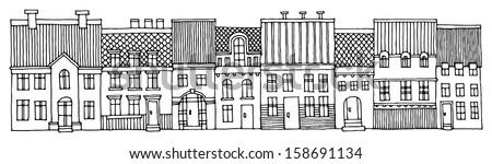 Cartoon house, hand drawn - stock vector