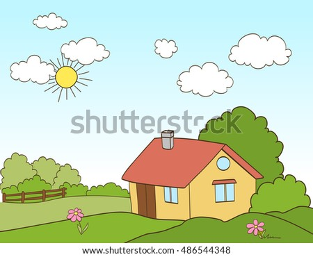 cartoon house in countryside. vector illustration