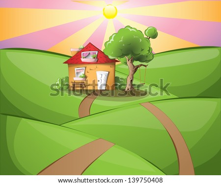 Cartoon house in the middle of a rural landscape on a sunset, EPS 10 - stock vector