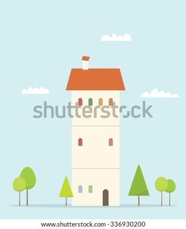 Cartoon house. Simple flat image - stock vector