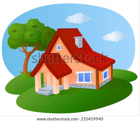 Cartoon house with a tiled roof - stock vector