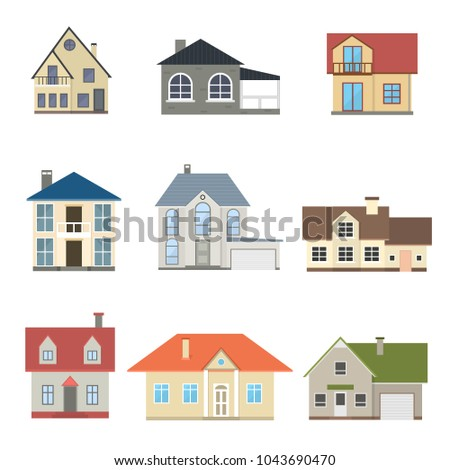 Cartoon houses exterior front set different stock vector for Various architectural concepts