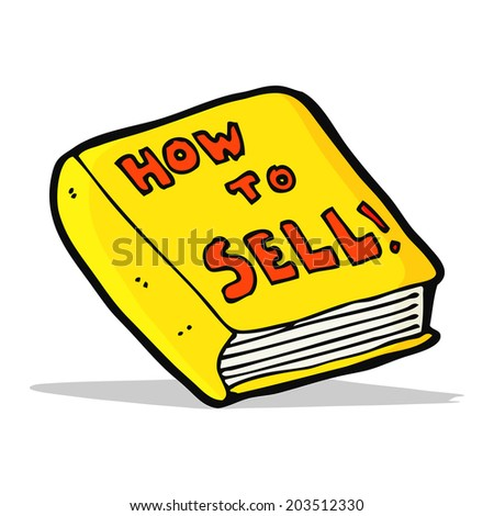 cartoon how to sell book - stock vector