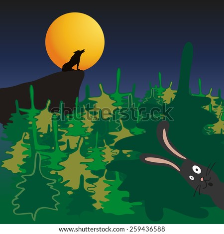 Cartoon howling wolf and scared hare in the forest - stock vector