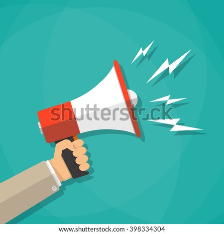 Cartoon human hand holding megaphone. social media marketing concept. vector illustration in flat design on brown background - stock vector