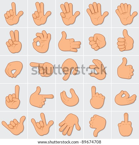 Cartoon Human Hands Illustrations, large vector collection of people hand gestures, signals and signs