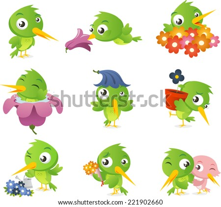 Cartoon hummingbird bird set collection, standing bird, smelling flower bird, surrounded by flowers bird, inside flower bird, with flower as a hat bird and in love bird vector illustration.  - stock vector