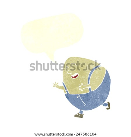 cartoon humpty dumpty egg character with speech bubble - stock vector