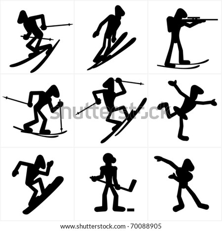 Cartoon icons of winter olympic games sports disciplines, vector silhouettes clip art - stock vector