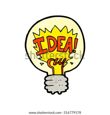 cartoon idea light bulb symbol - stock vector